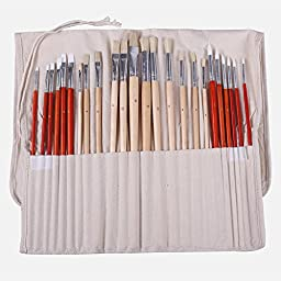 Jadebird Paint Brush Set for Acrylic Oil & Watercolor,Gift Packing,Long Handle,24-Piece,1-Year Warranty
