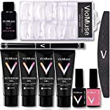 Viomuse Nail Extension Gel Kit Enhancement System 30ml4 Quick Build Gel, All in One Kit, including brush pen, Slip Solution, Dual Forms, Top Coat & Base Coat Gel Polish