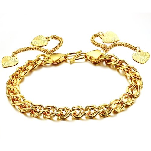 Opk Jewellery Fashion 18K Gold Plated Noble Women's Bracelets Hearts Pendants Twisted Chain Link Wristband Elegant Wedding Party Bride Gift Never Fade and Anti-Allergy 7.28 Inch Length 8mm Width 16g Weight New Design Bangle