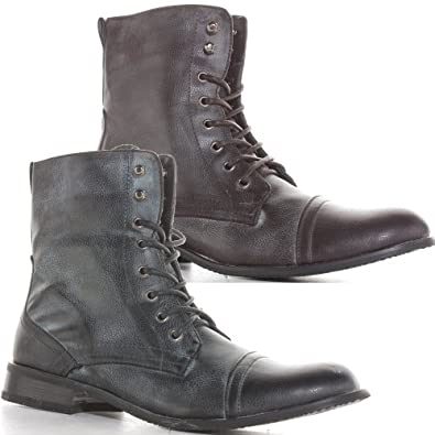 Mens Black Brown Army Combat Lace Up Miltary Style Ankle Boots Size 7 8 9 10 11 24