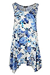 Womens Ladies Printed Scoop Neck Ruched Sleeveless Flared Vest Swing Dress Top by Oops Outlet