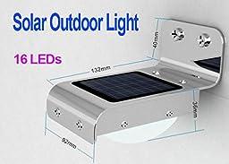 Constructan(TM) Home Security Solar Sensitive Motion Sensor 16 LEDs Outdoor Light