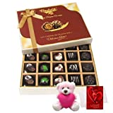 Valentine Chocholik Premium Gifts - Lovely Surprise Of Dark And Milk Chocolate Box With Teddy And Love Card