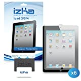 6 Pack Screen Protector For New Apple iPad 4, Apple iPad 3, Apple iPad 2 Tablet Includes Microfibre Cleaning Cloth And Application Card