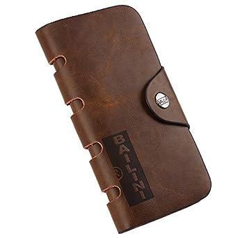 Goldream Mens Retro Button Closure Bifold Billfold Long Leather Wallet Money Clip BLN7