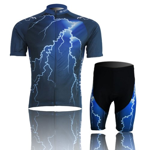 Baleaf Mens Short Sleeve Cycling Jersey Thunder Style L