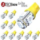 Jtech 10x 194 168 2825 T10 5-SMD Yellow LED Car Lights Bulb