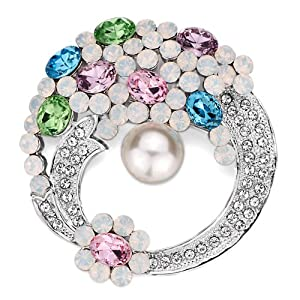 Pugster Elegant Colorful Flower With Clear Swarovski Crystal Diamond Accent And Pearl Round Brooches And Pins