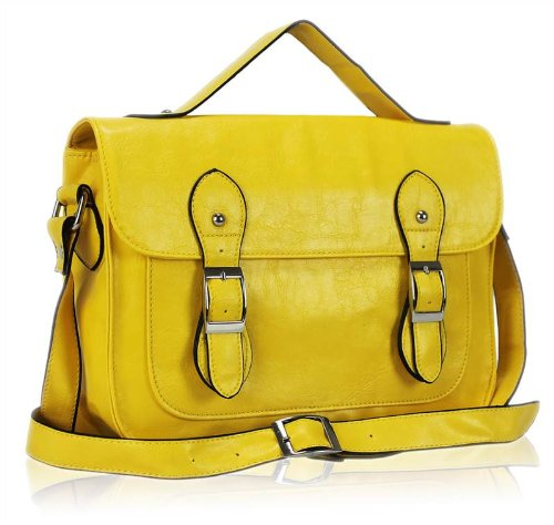 Ladies Womens Vintage Satchel Messenger Shoulder Bag Cross Body Handbag Yellow