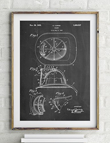 Cairns Firefighter Helmet 1932 Patent Poster Color Vintage Parchment Size 12x18 (Firefighter Vintage compare prices)