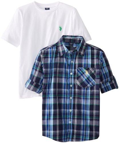 U.S. Polo Assn. Big Boys' 2Fer Crew Neck T-Shirt And Long Sleeve Plaid Shirt Set, Classic Navy, 10/12