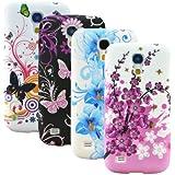 zkiosk 784 Schmetterling Blumen Design Auswahl 1 Silikon Schutzh�lle f�r Samsung Galaxy S4 mini i9190  (4-er Pack) pink/lila/blau/wei�/schwarz