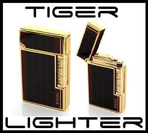 Tiger Brand Premium Luxury Flint Lighter Refillable Butane Black and Gold