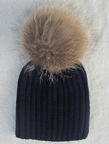 XMQC*Donne Ladies inverno caldo a maglia di lana Raccoon Fur Beanie Bobble Ski Hat Cap,Style3 Navy Blue (bambino)