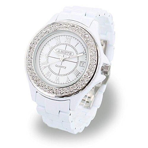 [ABISTE]アビステ ラウンドフェイスキラキラベルト時計 Sホワイト 9600082S