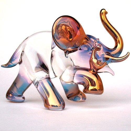 Christmas Hand Blown Glass Elephant And Mouse Figurine