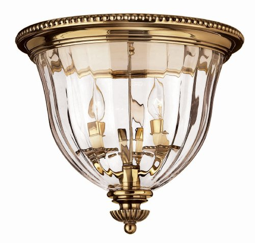 Hinkley Lighting H3612 3 Light Indoor Flush Mount Ceiling Fixture From The Cambr, Burnished Brass