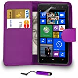 MOBILE JOY Nokia Lumia 625 Leather Wallet Flip Case Cover Pouch + Mini Touch Stylus Pen + 2 x Screen Protector & Polishing Cloth ( Dark Purple )