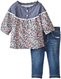 Levi's Baby-Girls Infant Perfect Present Winnie Woven Top and Addison French Terry Legging 2 Piece Set, Iced Blue/Fall Beach Blue Floral, 12 Months