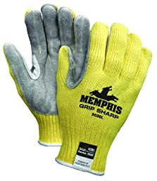 MCR Safety 9686XL Grip Sharp Kevlar Shell 10 Gauge Split Leather Palm Gloves with Green Hem Cuff, Yellow, X-Large, 1-Pair