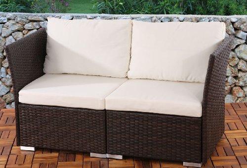 2er Sofa 2-Sitzer Siena Poly-Rattan, Gastronomie-Qualität ~ braun mit Kissen in creme