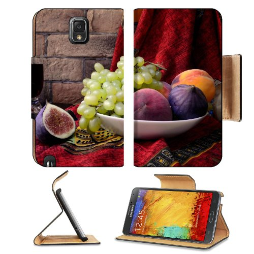 Figs Grapes Fruit Juice Plate Samsung Galaxy Note 3 N9000 Flip Case Stand Magnetic Cover Open Ports Customized Made To Order Support Ready Premium Deluxe Pu Leather 5 15/16 Inch (150Mm) X 3 1/2 Inch (89Mm) X 9/16 Inch (14Mm) Liil Note Cover Professional N front-944244