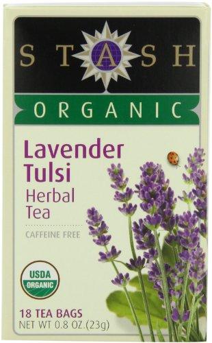 Stash Tea Organic Lavender Tulsi Herbal Tea, 18 Count Tea Bags in Foil 0.8 oz. (Pack of 6)