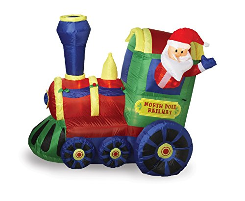 """70""""L Airblown Inflatable Lighted Train With Santa front-89391"""