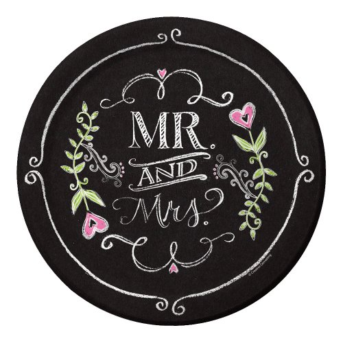 Creative Converting 8 Count Mr. and Mrs. Chalk Dinner Paper Plates