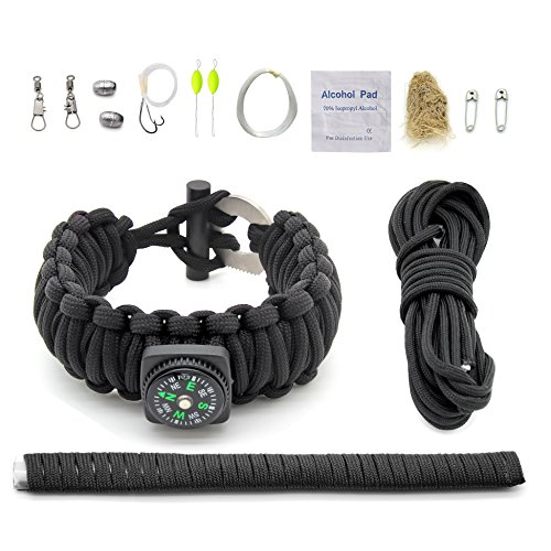 "Gecko Equipments Adjustable Premium Paracord Bracelet with Survival kit Black, Compass and Fire Starter - Fits 8"" to 9"" Wrists"