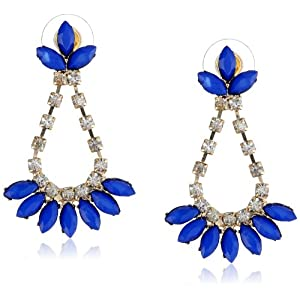 Blue Cabochon and Crystal Fan Gold Tone Earrings