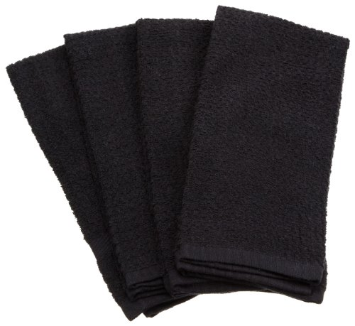 Excello Waffle Terry Towel, Black, Set of 4