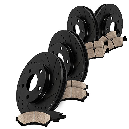 Callahan Jeep Wrangler JK Front and Rear Black Rotors and Brake Pads