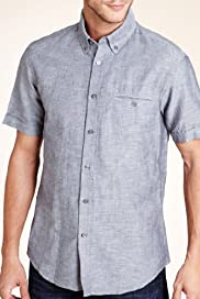 Autograph Linen Blend Short Sleeve Plain Shirt [T25-3130A-S]