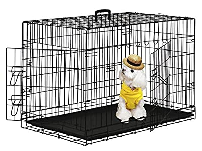 "PayLessHere 48"" XXXL Dog Crate Double-doors Folding Metal Dog Cage w/ Free Tray"