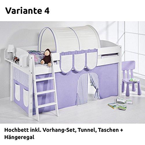 Hochbett Spielbett IDA Lila Beige, mit Vorhang, weiß, Variante 4 bestellen