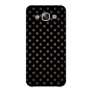 Gorgeous Golden Flower Black Back Case Cover for Galaxy E7