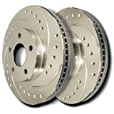 SP Performance F01-052E-P Drilled and Slotted Brake Rotors -  Bright Sliver Zinc Plating - L and R Pair