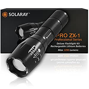 SOLARAY PRO ZX-1 Professional Series Flashlight Kit - Our Best and Brightest LED Tactical Flashlight (rechargeable) max 1200 Lumens, 5 Modes, Zoom Lens with Zoomable Focus, Water Resistant.
