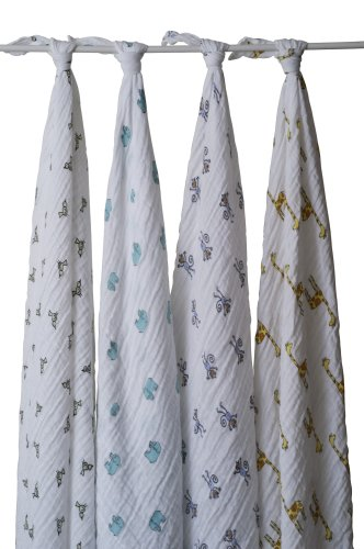 aden + anais Classic Muslin Swaddle Blanket 4 Pack, Zoo Animals (Discontinued by Manufacturer)
