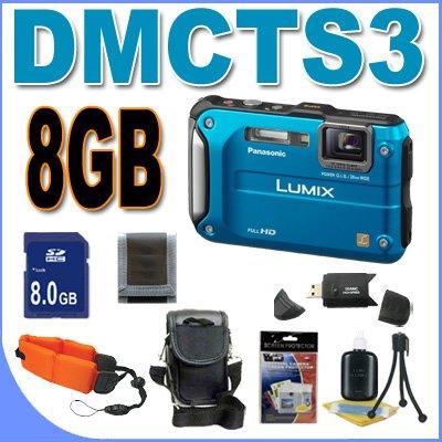 Panasonic Lumix DMC-TS3 12.1 MP Rugged/Waterproof Digital Camera (Blue) BigVALUEInc Accessory Saver 8GB Bundle