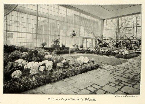 1937 Print Paris Exposition Garden Belgian Pavilion Belgium Flowers Patio Yard - Original Halftone Print