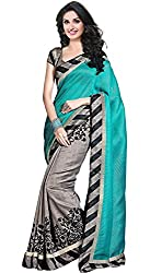 ROSHNI FASHIONS Sky Blue Printed Material Cotton With Blouse Saree