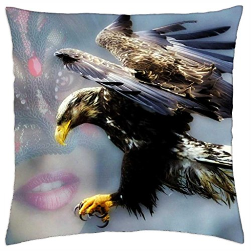 She looks with full respect to the mightiest bird of prey on earth - Throw Pillow Cover Case (18
