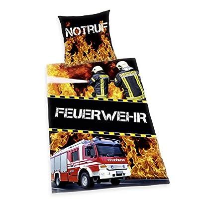 Herding 4459033077 Young Collection Feuerwehr Bettwäsche, Baumwolle, schwarz, 140 x 200 x cm