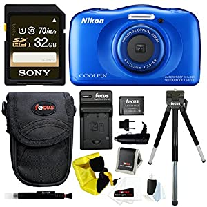 Nikon COOLPIX S33 Waterproof Camera (Blue) with 32GB SD Card & Battery Pack Bundle
