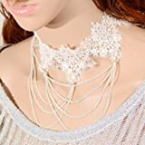 Yazilind Jewelry White Lace Collar Necklace Noble Sexy Lolita White Twine Chain Metal Christmas Gift Wedding Party for Women Length 12.48in