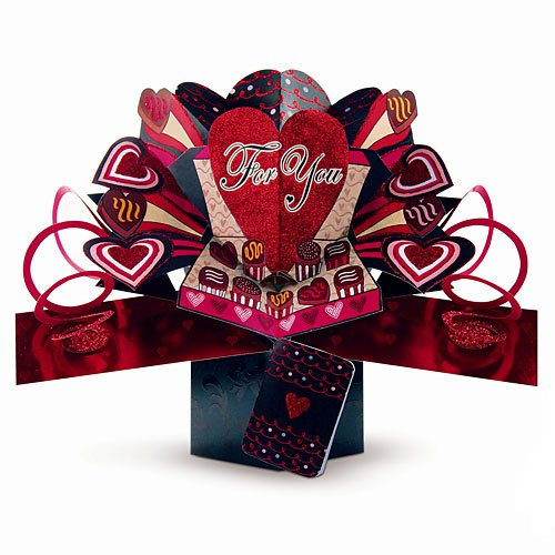 SECOND NATURE POP UPS - V-011 - BOX OF CHOCOLATES - Valentine's Day Card