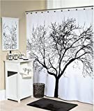 Sea Team Fabric Shower Curtain Liner, 70-inch by 72-inch, Black Tree
