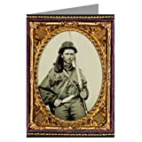 1 Vintage Greeting Cards of Confederate soldier in infantry uniform with musket and Bowie knife from the Civil War.